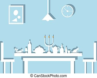 table dinner - Vector illustration of a table dinner, flat...