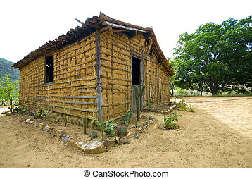 Mud house - Poor mud house in the arid weather .