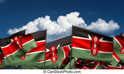 Waving Kenyan Flags seamless alpha channel