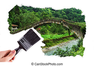 Hand Painting Plateau Picture - Male hand holding paint...