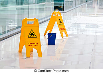 Warning sign slippery, A yellow warning. Floor