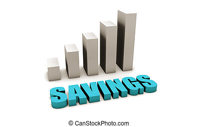Blue Savings in 3d with Bar Graph Chart