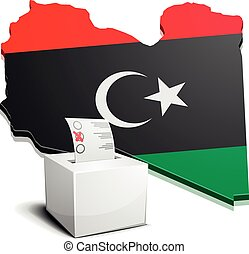 ballotbox Libya - detailed illustration of a ballotbox in...