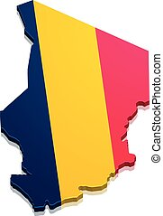 Map Chad - detailed illustration of a map of Chad with flag,...