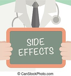 Side Effects - minimalistic illustration of a doctor holding...