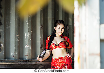 Sexy Chinese woman red dress traditional cheongsam - Sexy...