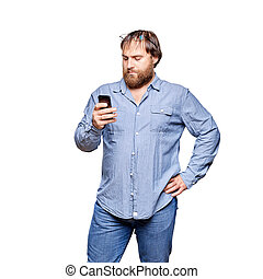 fat man with smartphone on a white background - fat man...