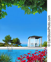 swimming pool with fanttic view to the sea - fictitious 3D...
