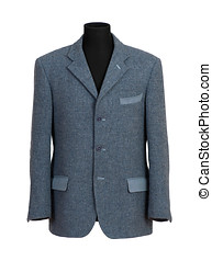 Mannequin in Elegant Gray Business Suit - Close up Black...
