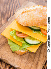 Cheddar Cheese Sandwich (detailed close-up shot) on wooden...