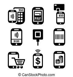 Mobile or cell phone payments - Vector icons set of Mobile...