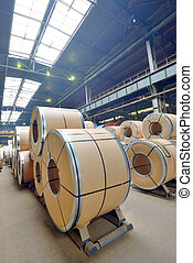 Cold rolled steel coils - stack of rolls, Cold rolled steel...