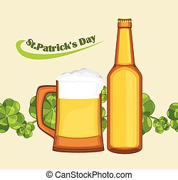 Beer mug and bottle on the seamless background with clover...