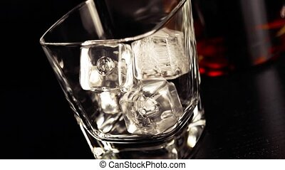 pouring whiskey on bar table