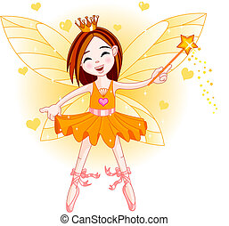 Little orange fairy - Cute fairy ballerina flying . All...