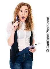 Surprised young business woman with pen and tablet for notes