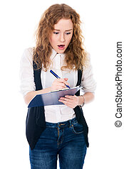 Surprised young business woman with pen and tablet for notes.