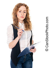 Business woman with pen and tablet for notes
