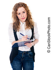 Cheerful business woman with pen and tablet for notes