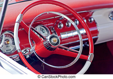 steering - red steering of a vintage car