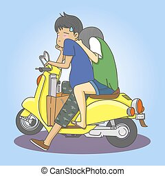 couple with motorcycle - boy and girl with yellow motorcycle