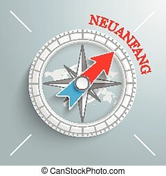 Compass Neuanfang - White compass with red german text...