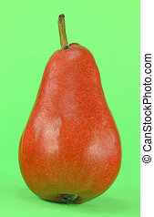 Red Pear.  - Picture of red pear on green background.