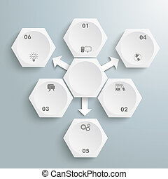 6 White Hexagons 3 Arrows Infographic - Infographic with...