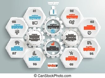6 Hexagons 4 Gears Infographic - 6 hexagons with 4 gear...