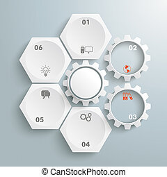 4 White Hexagons 3 Gears Cylce - Infographic with honeycomb...