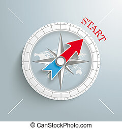 Compass Start - White compass with red text Start on the...