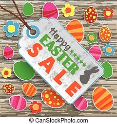 Easter Price Sticker Wood - Infographic with price sticker...