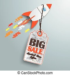 Price Sticker Rocket - Sale rocket with price sticker on the...