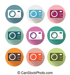 9 Colored Photocamera Icons - Photocamera icons on the white...