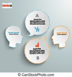 2 Heads 2 Round Speech Bubbles - Infographic with 2 heads...