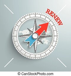Compass Renew - White compass with red text Renew on the...
