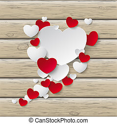 Speech Bubble Hearts Wood - Red hearts with on the wooden...