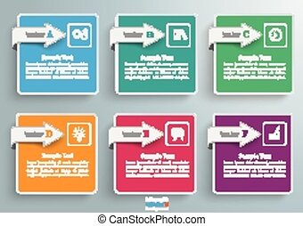 6 Squares Arrows Infographic - 6 squares with arrows on the...