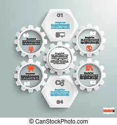 2 White Hexagons 4 Gears Cylce - Infographic with honeycomb...
