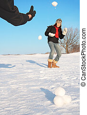 Winter fun - snowball fight - Snowball fight - winter fun...