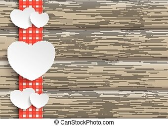Towel Wood Hearts - White paper hearts on the wooden...