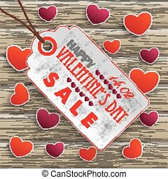 Valentinesday Price Sticker Wood - Infographic with price...