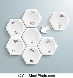 6 White Hexagons 1 Arrow Integration - Infographic with...