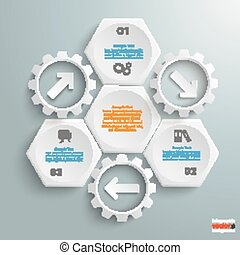 3 White Hexagons 3 Gears Cylce Arrows - Infographic with...