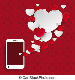 Speech Bubble Hearts Smartphone Ornaments - Red hearts with...