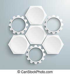3 White Hexagons 3 Gears Cycle - Infographic with honeycomb...