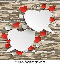 White Hearts Speech Bubbles Wood - White heart speech...