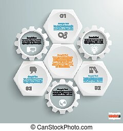 3 White Hexagons 3 Gears Cylce - Infographic with honeycomb...
