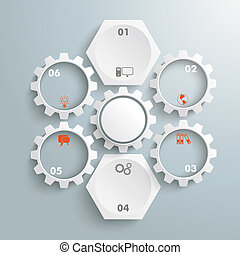 2 White Hexagons 5 Gears Cycle - Infographic with honeycomb...
