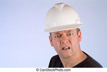 malhumorado, construcción, trabajador